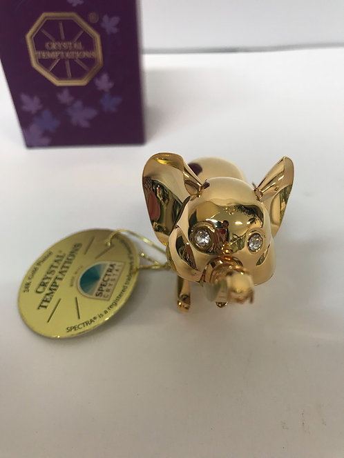 Figura Slon Swarovski kristali 24 pozlata
