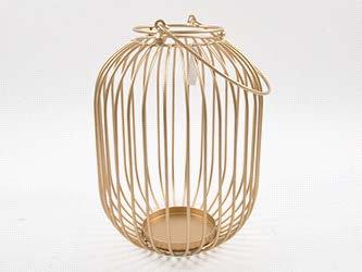 Metalni kavez lanterna - zlatni 42 cm