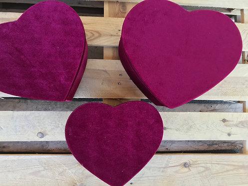Set tri ukrasne baršun srce kutije