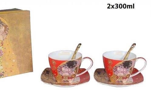 Klimt porculan šalice u kutiji-crvene