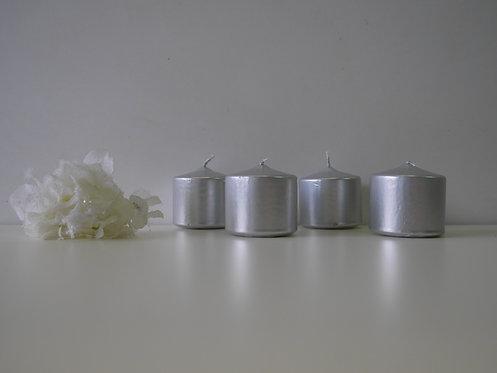 Top svijeća 50 x 50 metalik - srebrna - 4 kom