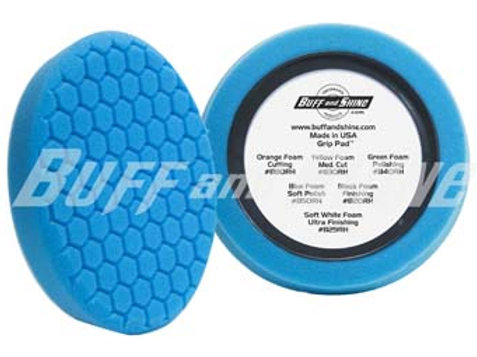 "Buff&Shine 8""  Blue Soft Polishing Hex Faced Foam Pad, Center Ring Backing 850RH"