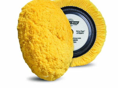 Buff and Shine 7.5 Inch Center Ring Medium Cutting Yellow Wool Pad #753RY
