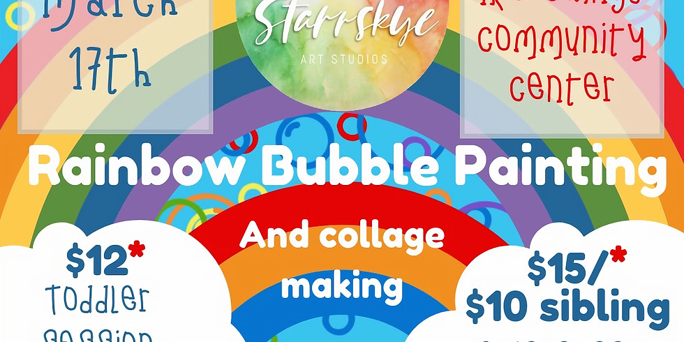 Cookies & Canvases: Rainbow Bubble Painting (Toddler)