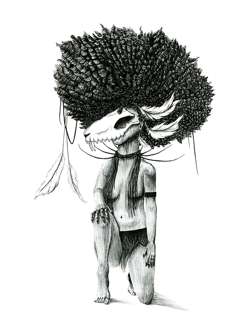 pizqit, laura wellington, feral girl, fox girl, skull, afro, feathers, poc, illustration, black and white, pen and ink