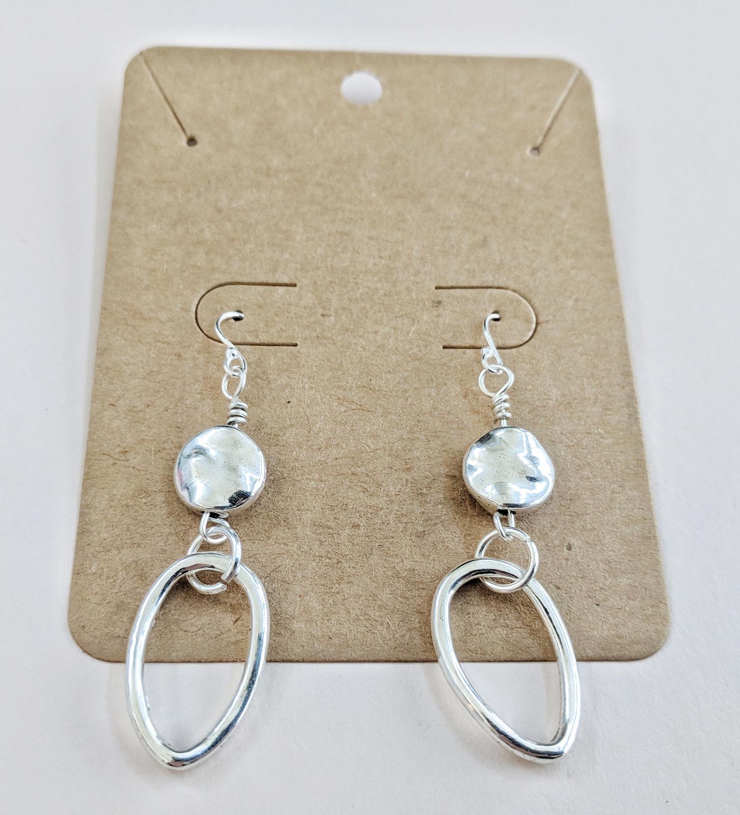 E0009 Silver Coin with Oval Hoop Earrings | Custom handmade jewelry ...