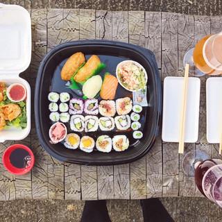 Enjoy sushi in the garden at Drunk Dry