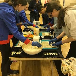 Girl Guides making sushi