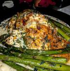 lobster stuffed salmon | garlic roasted asparagus | garlic + herbed mashed potatoes