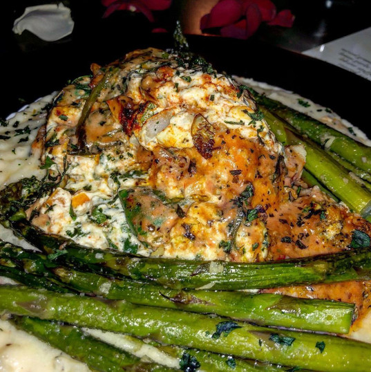 lobster stuffed salmon | garlic roasted asparagus | garlic + herbed mashed potatoes