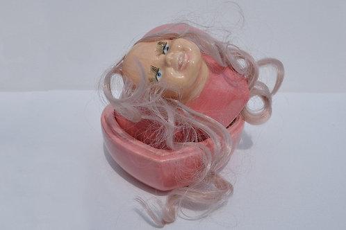 DOLL HEAD - HEART SHAPED BOX - WITH HAIR