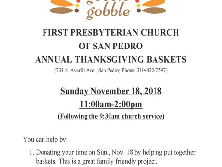 First Presbyterian Church Annual Thanksgiving Baskets
