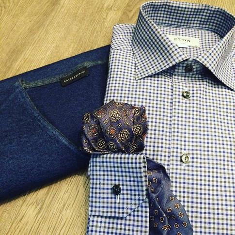 Mens Eton Dress Shirt with Merino Sweater Baldessarini Toronto Menswear