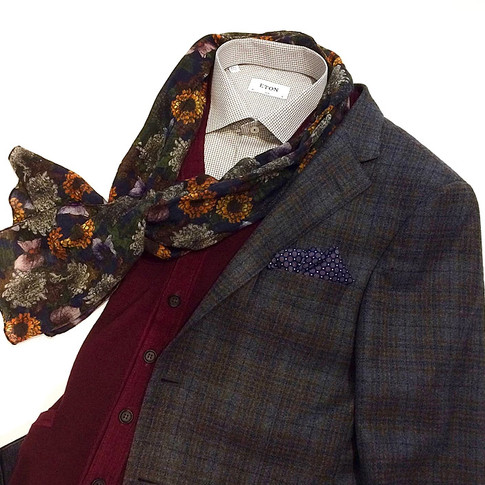 Mens Sport Coat with Eton Shirt, Sweater, and Scarf Toronto Menswear Theodore 1922