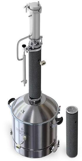 LUXSTAHL 8 оптимален для производства ароматных дистиллятов: виски, бренди, коньяка, кальвадоса и т.д. Для перегонки прибор просто собирается с 1 царгой и 3 пыжами медной РПН (в комплекте).