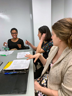 Regina Renée Russell and Laurel Andersen with Anna Stacy in rehearsal (BARDcore: As You Like It)
