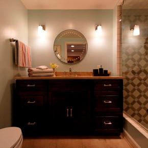 Bathroom with custom tile design