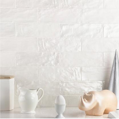 Montauk Gin 2x8 White Ceramic Wall Tile