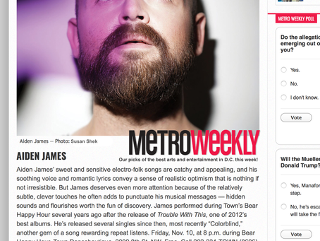 DC Metro Weekly - Spotlight Aiden James