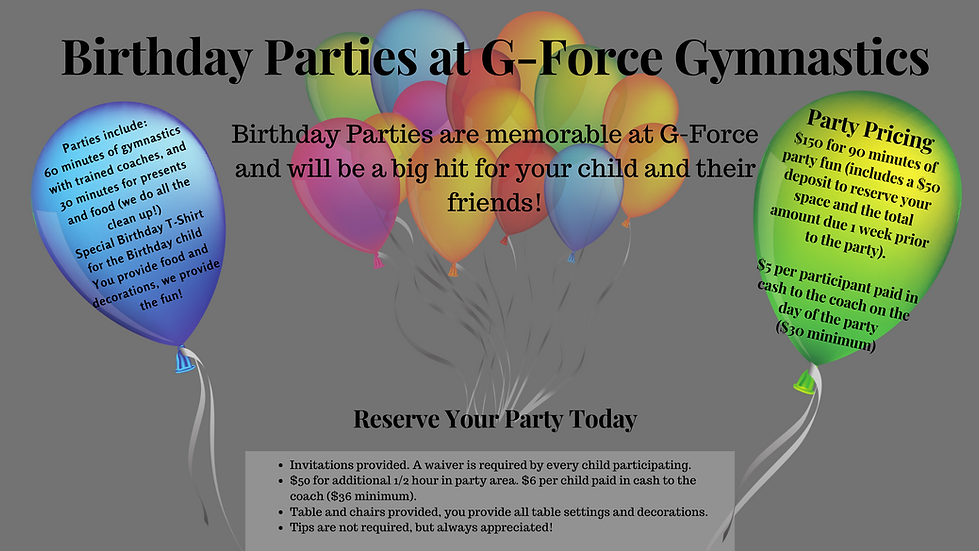 Birthday Parties at G-Force Gymnastics -