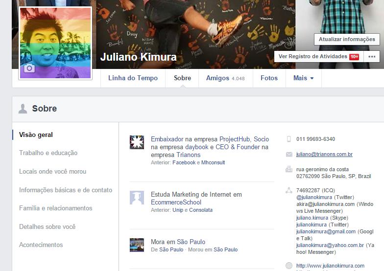 Guia Sobre do Facebook possui informações básicas para que as pessoas encontrem você da maneira mais fácil