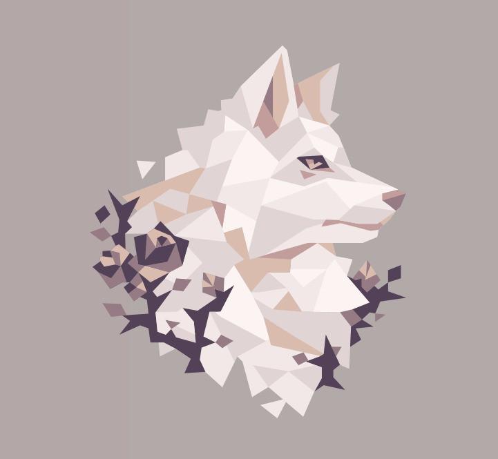 Low Poly Lobo Branco White Wolf