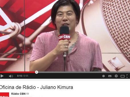 Juliano kimura na matéria pra CBN em oficina da Campus Party