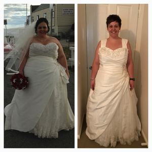 before and after wedding dress makeover