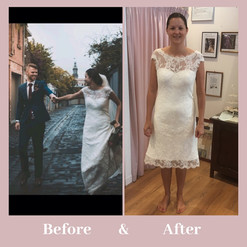 before and after shortened wedding dress