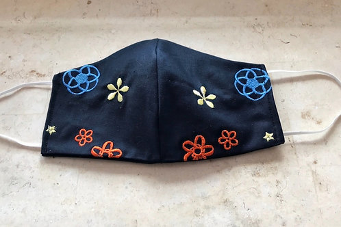 navy embroidered mask