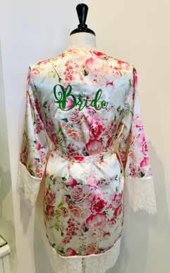 Floral bridal robe with green embroidery