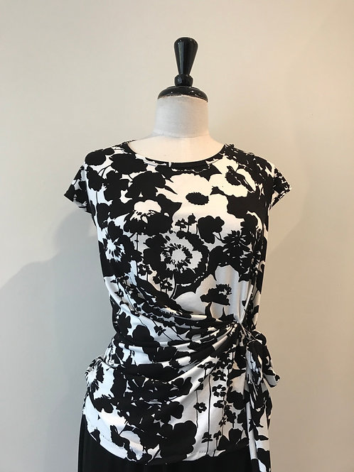Black and white drape front top