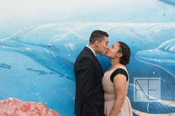 engagement photography painted wall