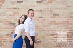engagement photography brick wall