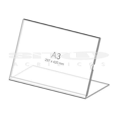 Display L - Horizontal - Tam.: A3 (297 x 420 mm) - Com fundo