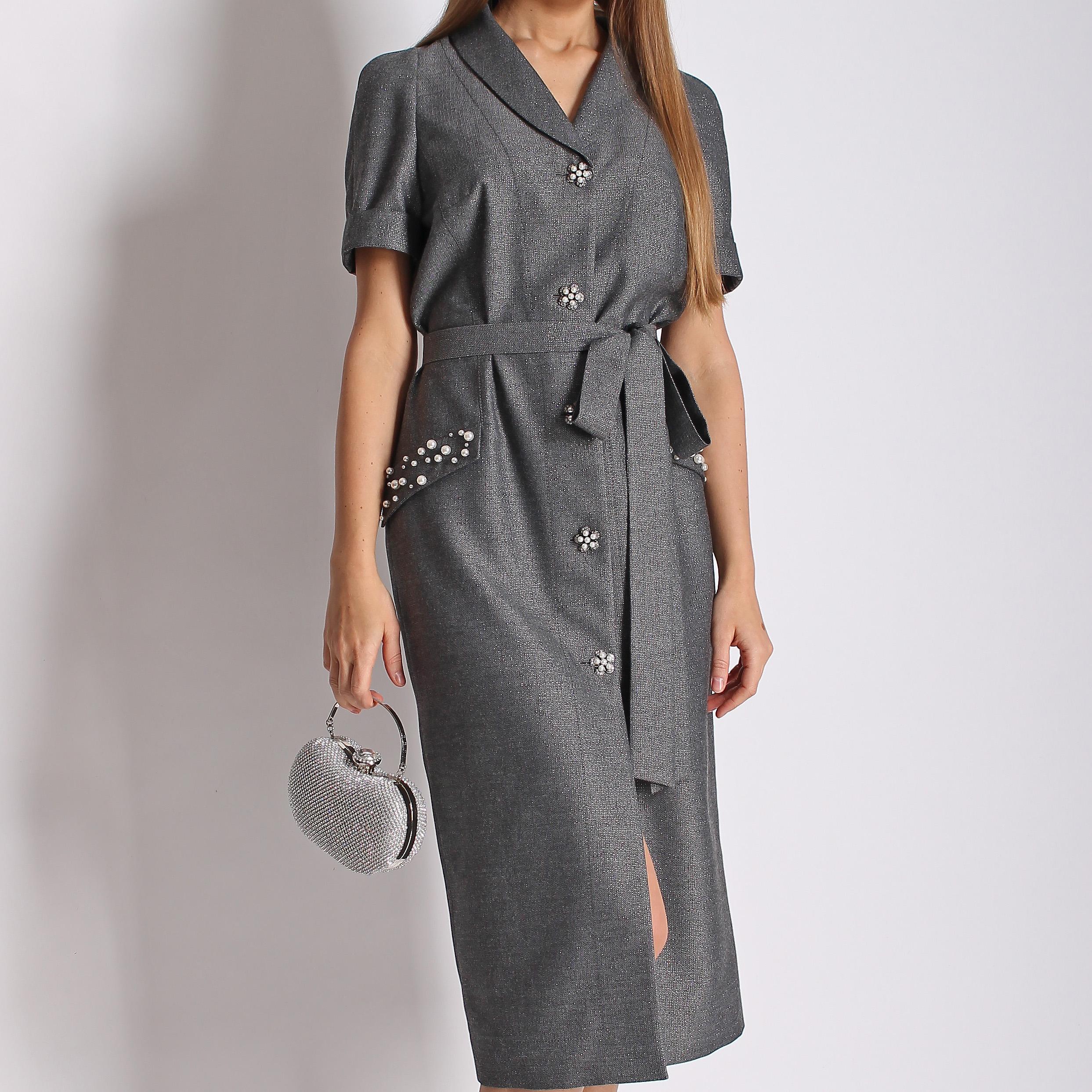 Платье из шерсти с люрексом