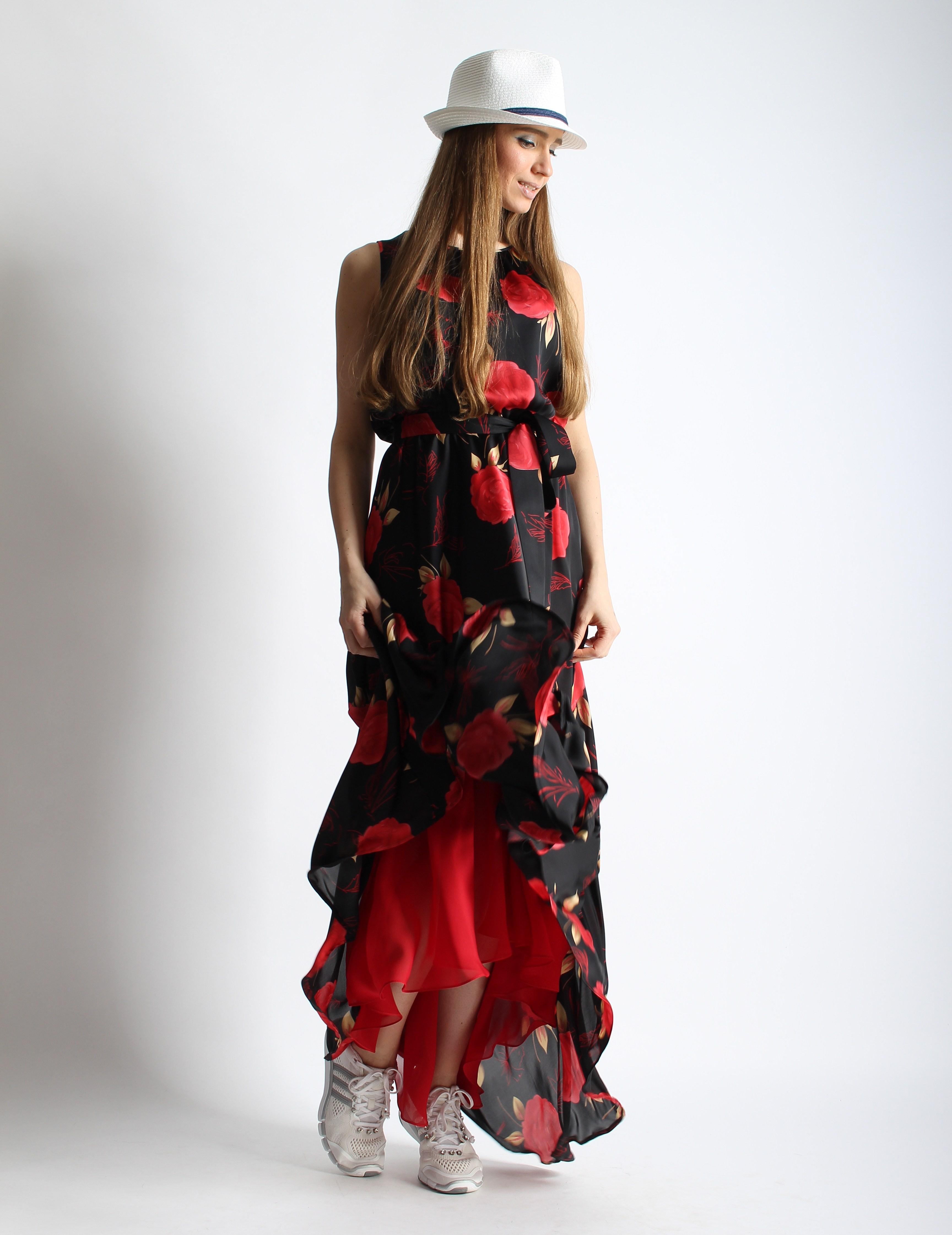 Платье из шелка и шифона