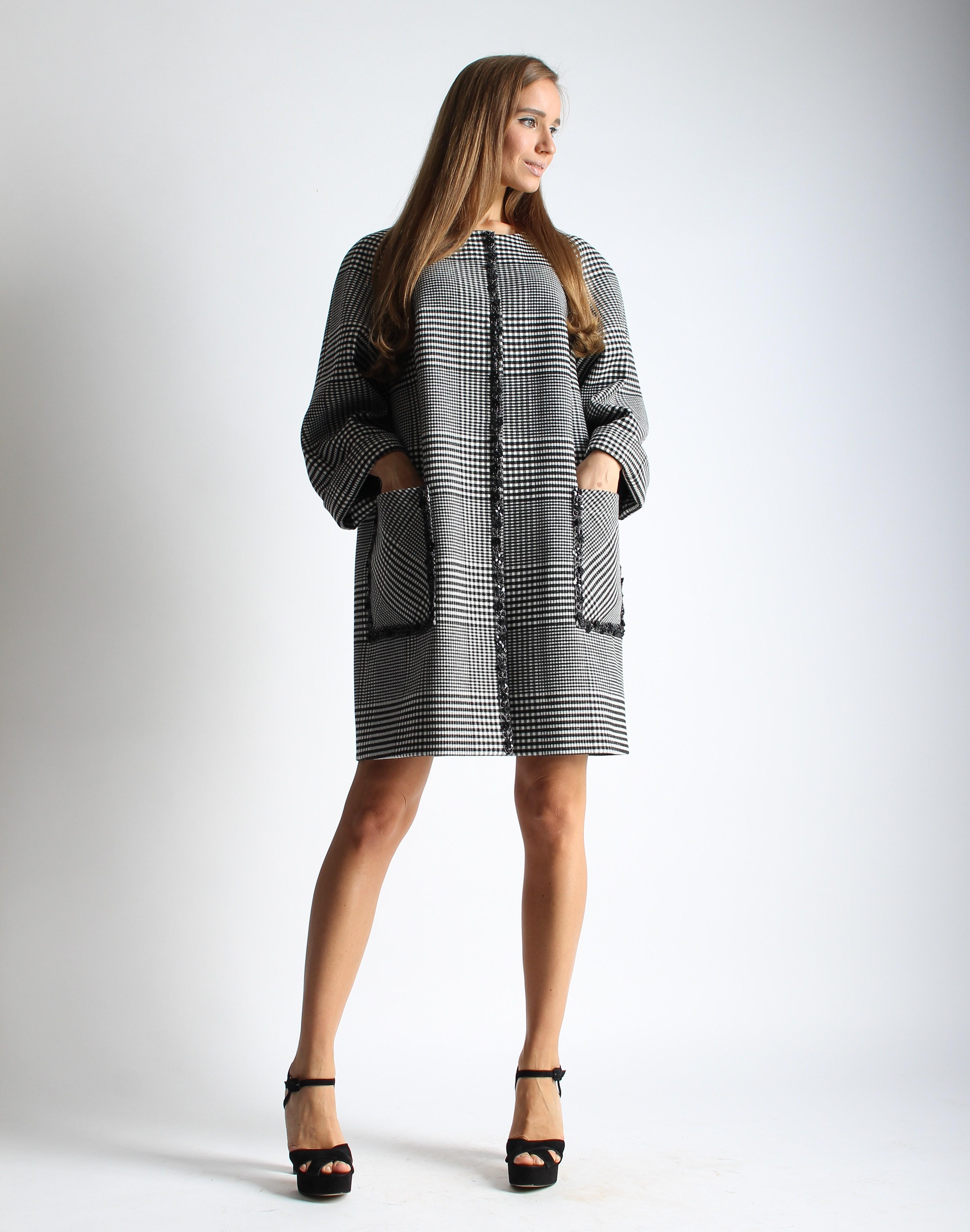 Пальто-кокон с тесьмой