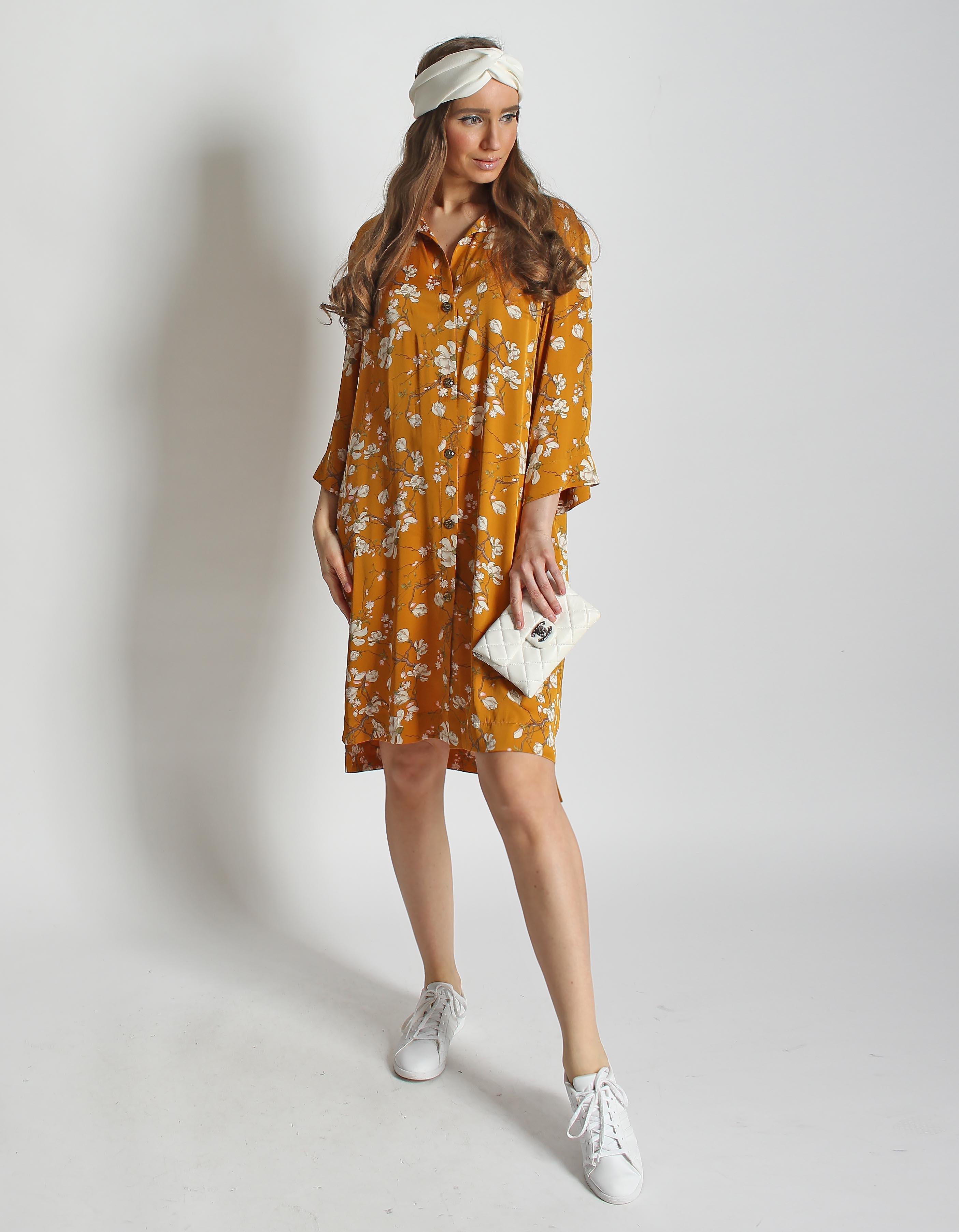 Платье-рубашка из шелка