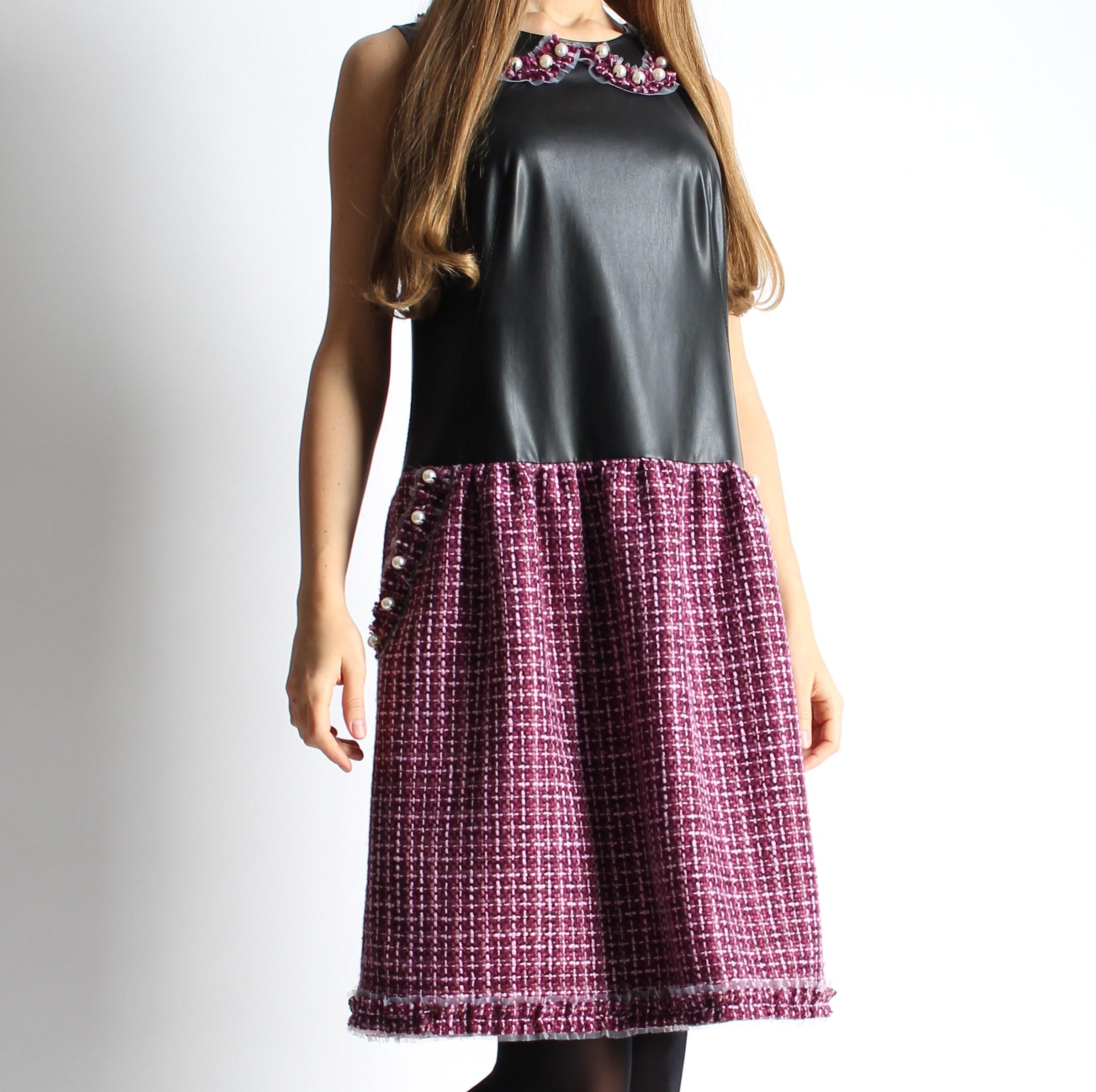 Платье из твида и экокожи