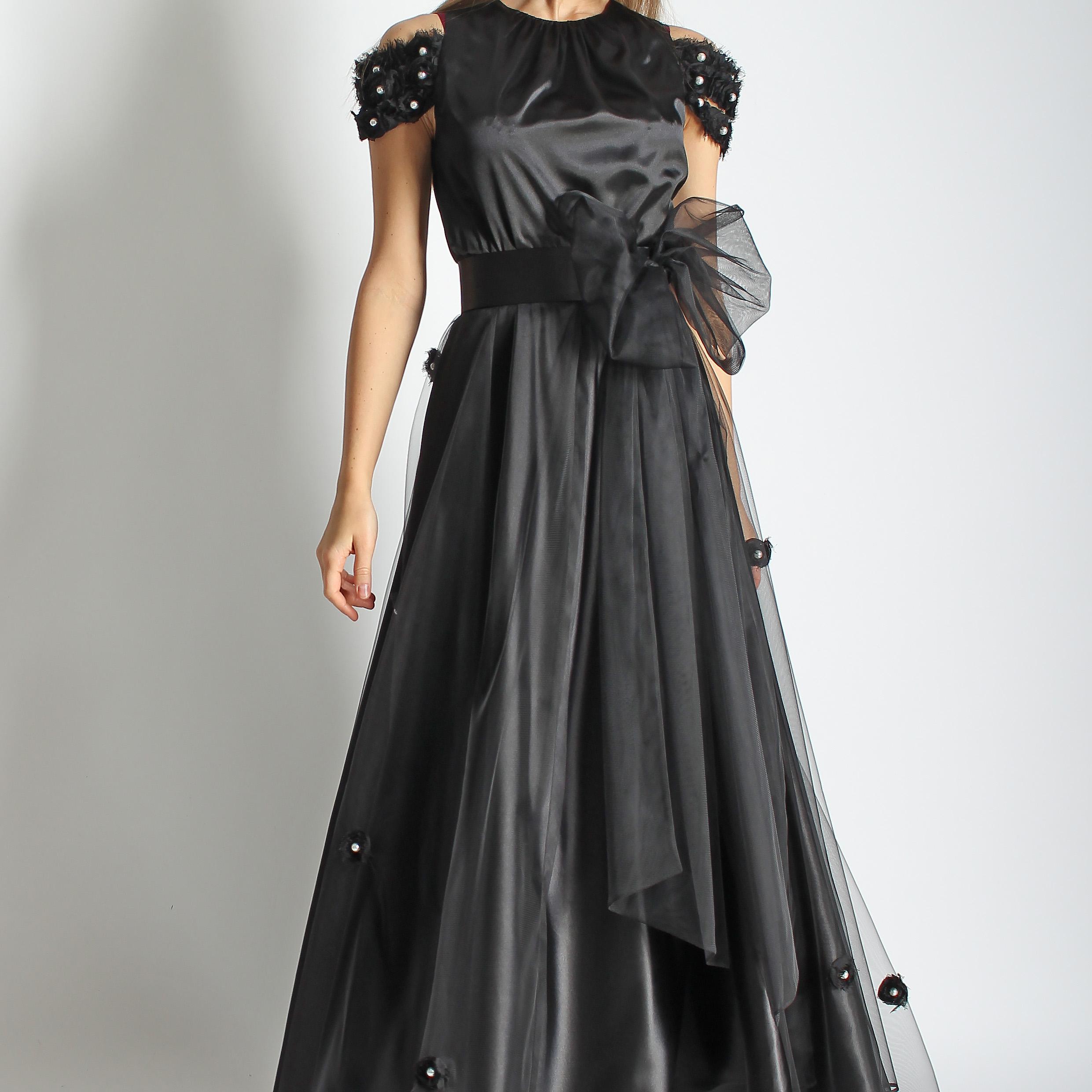 Платье из шелка и фатина