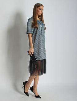 Платье из шелка с фатином