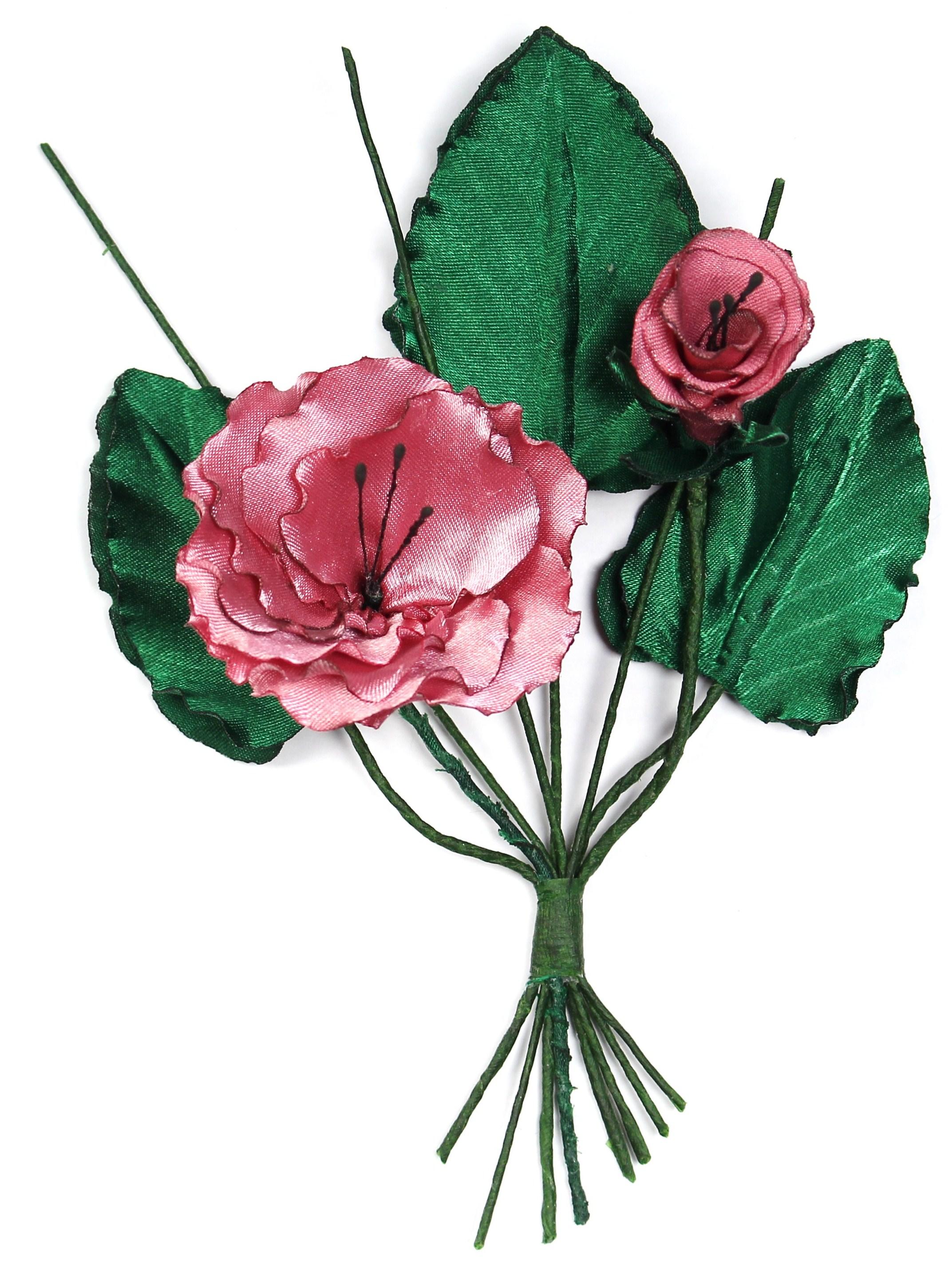 Розовые цветы и листья