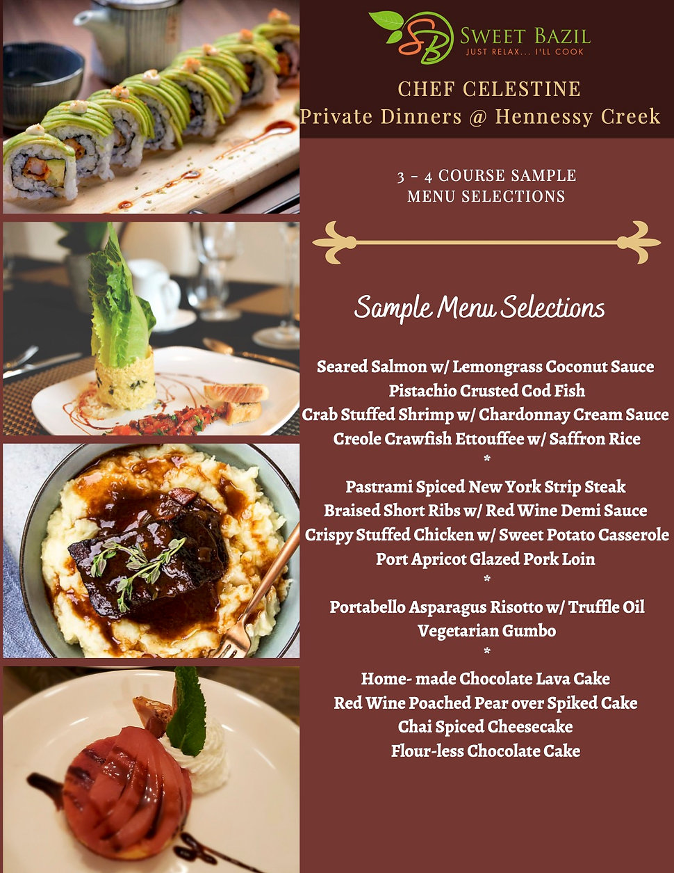 Menu Selections -  Private Dinner (Clien