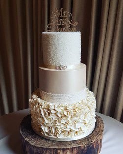 Elegant 3 tier Champagne Ruffle & Lustre Wedding Cake