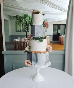 Marble, rose gold and ruffle wedding cake - sugar wishes cakes