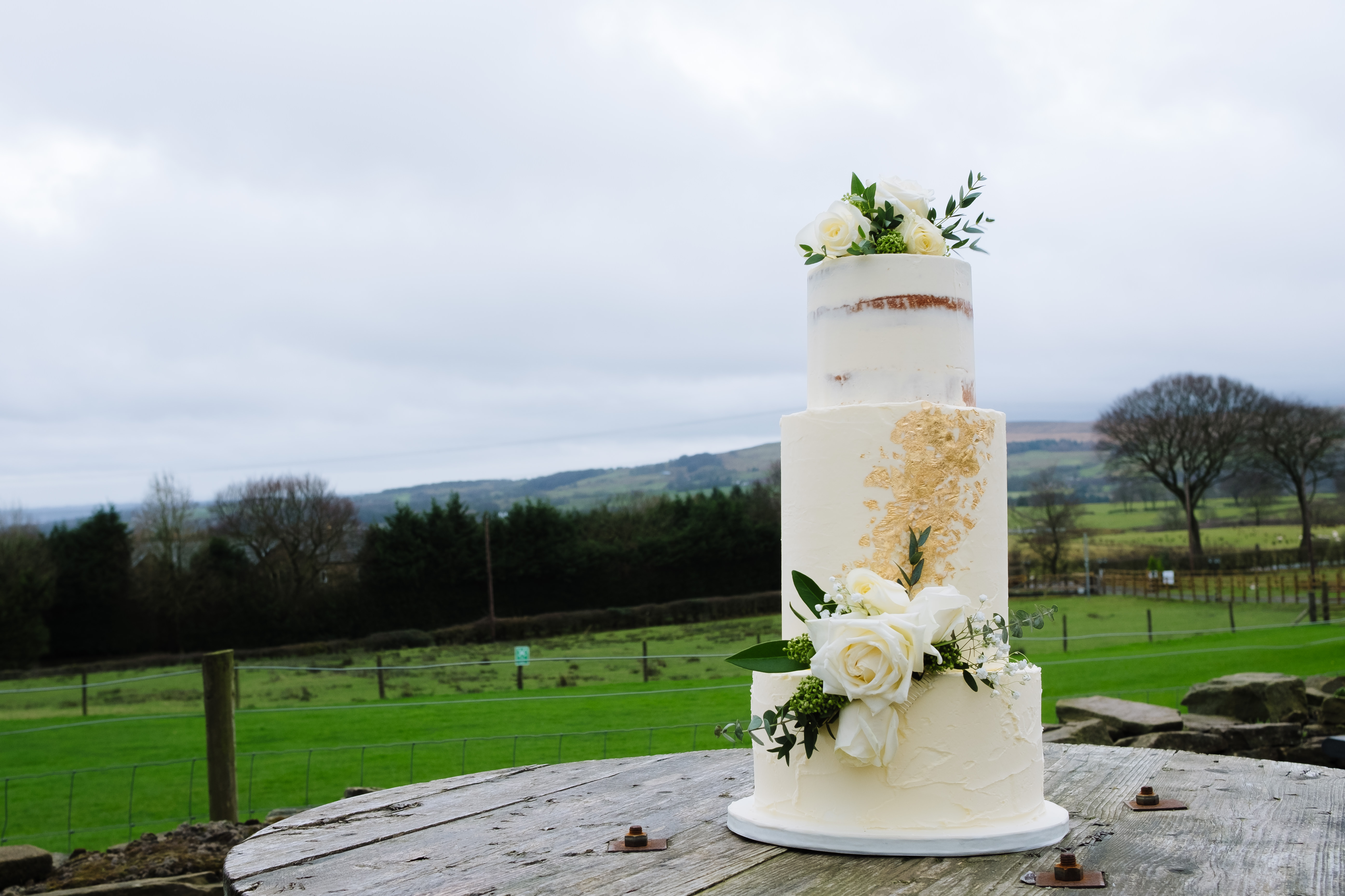 Semi Naked rustic wedding cake - Sugar Wishes Cakes Lancashire