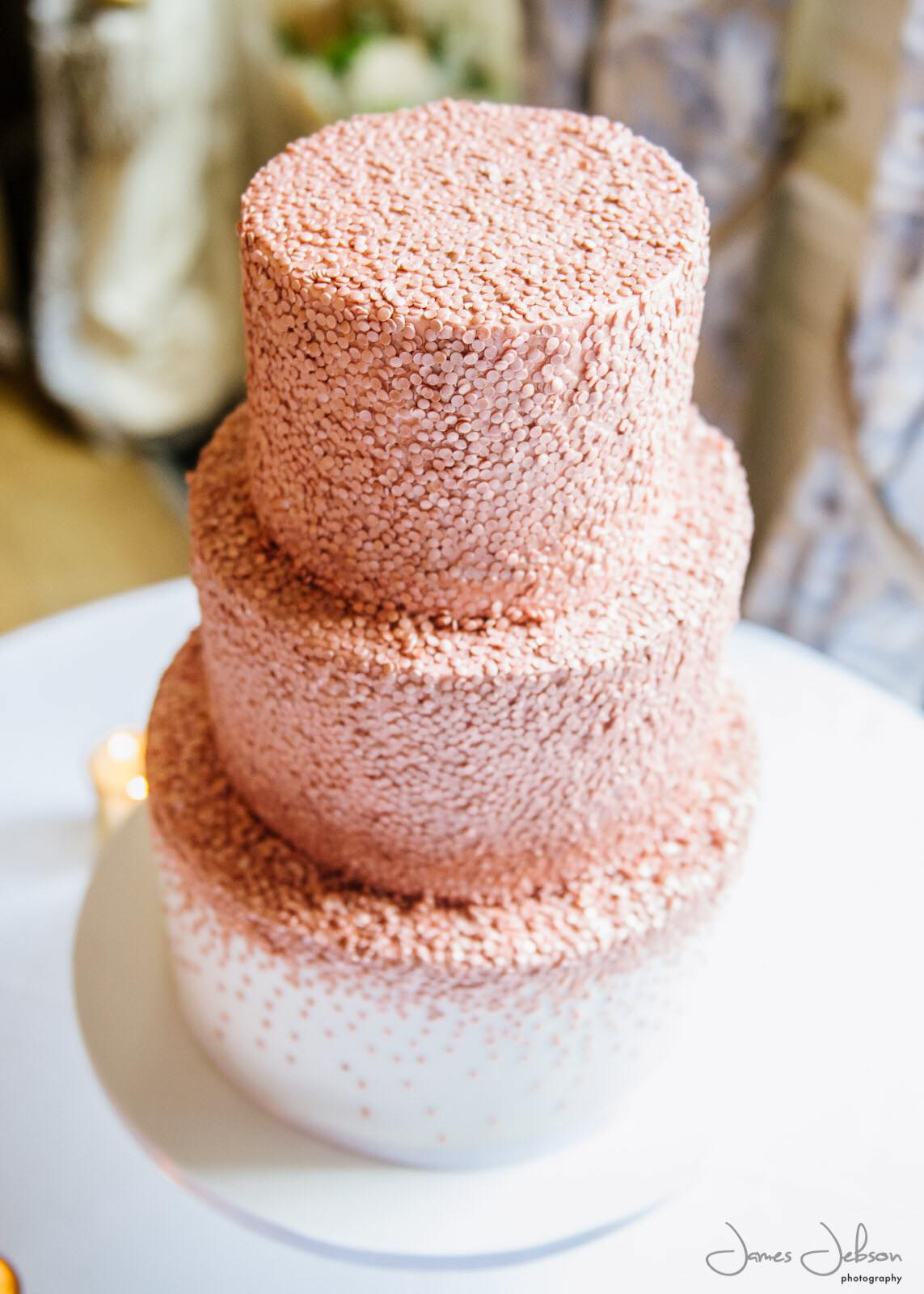 Rose gold edible sequins wedding cake