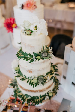 3 tier rustic semi naked wedding cake with fresh flowers