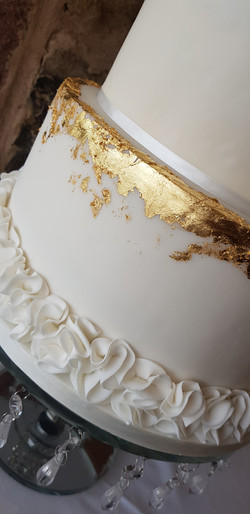 Edible gold leaf & ruffle detail